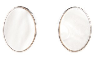 Saint Laurent Yves Saint Laurent Large Silver And Pearl Oval Earrings