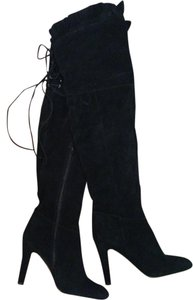 Kelsi Dagger Thigh High Scalloped Suede Black Boots