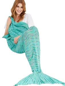 Urban Outfitters Mermaid Tail Blanket - Blue/Green - Fish Tail - Crocheted
