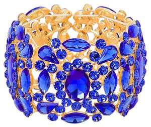 Other Blue Crystal Rhinestone Stretch Cuff Bracelet