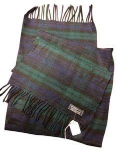 Burberry Navy/Black/Green Plaid Cashmere Scarf