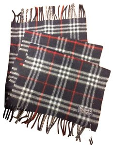 Burberry Blue/Navy/Red Plaid Lambswool Scarf