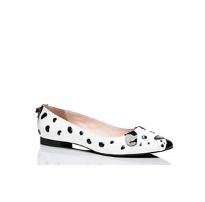 Kate Spade Puppy Animal Print Patent Comfortable White Black Flats