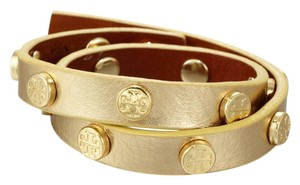 Tory Burch Tory Burch Gold Logo Studded Double Wrap Leather Bracelet