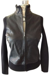Banana Republic Leather Leather + Knit Combo Zip Front Year Round Look Leather Jacket