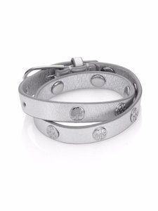 Tory Burch Tory Burch Logo Studded Double Wrap Leather Bracelet Silver