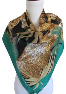 Salvatore Ferragamo Wow! Colorful Green Lions Large Silk Scarf // 36
