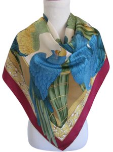 Salvatore Ferragamo Wow! Colorful Burgundy Blue Parrot Silk Scarf // 36