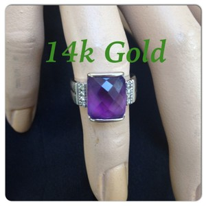14k real gold and diamond and purple stone ring 14 k ring with percious stone