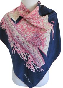 Salvatore Ferragamo Wow! Beautiful Blue Pink Sailboat Silk Scarf // 34
