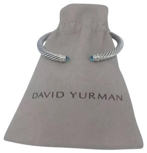 David Yurman David Yurman Silver 925 5mm Cable Blue Topaz & Diamond Cuff Bracelet