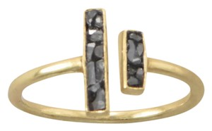 NEW ARRIVAL NEW 14 Karat Gold Plated Glass and Diamond Chip Ring