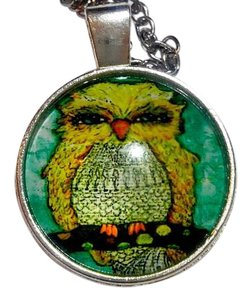 New Fat Owl Cabochon Necklace Silver Tone J3043