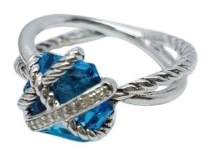 David Yurman David Yurman Sterling Silver 925 Cable Wrap Ring Blue Topaz Diamonds