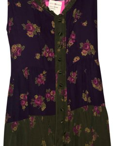 Betsey Johnson short dress Multi- purple & olive green w/floral print on Tradesy