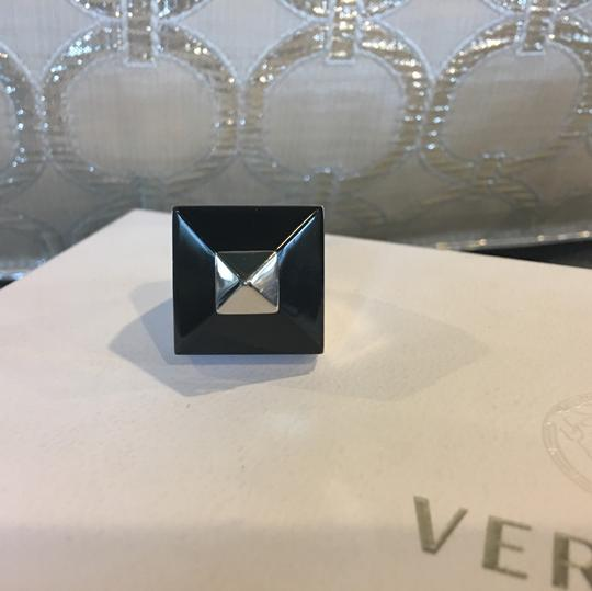 Givenchy Pyramid Silver Plexiglass Stud Ring