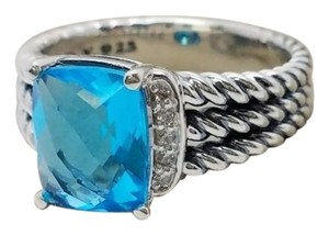David Yurman David Yurman Sterling Silver Petite Wheaton Ring with Blue Topaz and Diamonds