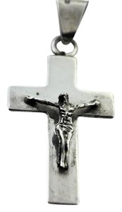 Polished Hand-Carved Crucifix Pendant- Sterling Silver
