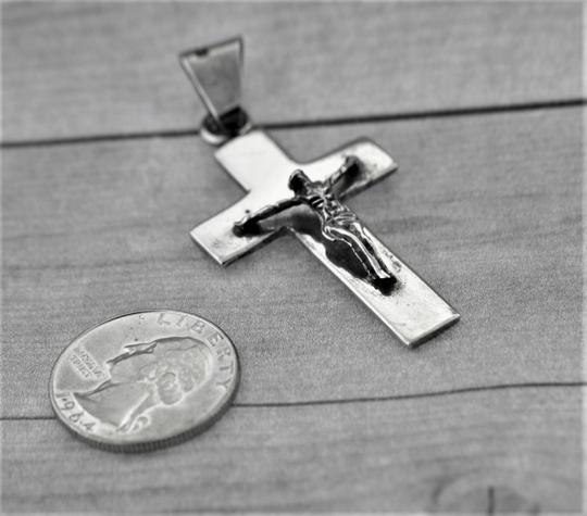 Other Polished Hand-Carved Crucifix Pendant- Sterling Silver