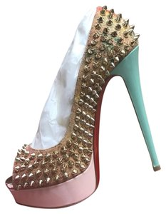 Christian Louboutin Teal, pink, splattered Platforms