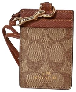 Coach Coach Khaki Signature Lanyard ID Holder