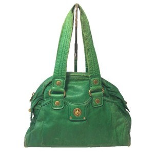 Marc by Marc Jacobs Gold Hardware Leather Designer Satchel in GREEN/ GOLD