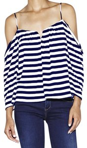Nicole Miller Top White and Navy