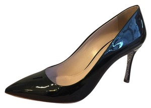Miu Miu Glitter Pointed Toe Black Pumps