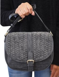 Madison West Vegan Suede Charcoal Woven Cross Body Bag