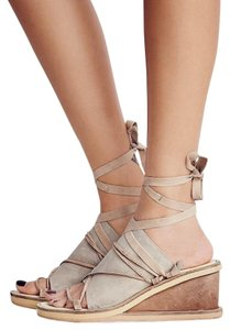 Free People Bowery Lace Up Leather Dove/Gray Wedges