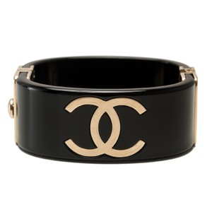 Chanel Chanel Runway Black and Gold CC Logo Cuff Bracelet