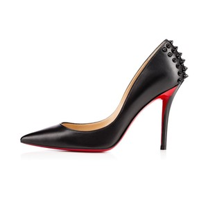 Christian Louboutin Zappa Leather Spike Black Pumps