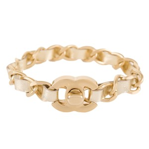 Chanel Chanel Gold Interwoven Leather And Chain CC Turnlock Bracelet