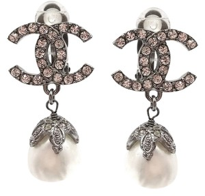 Chanel Chanel Silver CC Crystal Pearl Dangle Clip on Earrings