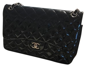 Chanel Jumbo double flap SHW Black Patent Shoulder Bag