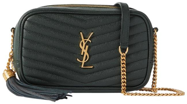Item - Monogram Camera Mini Lou Ysl In Quilted Grain De Poudre Embossed Deep Green Leather Cross Body Bag