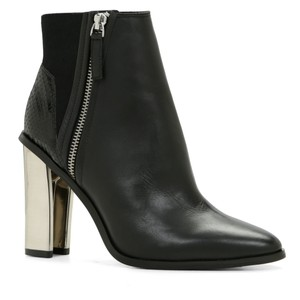 ALDO Sarasen Leather Silver Chunky Heel Black Boots