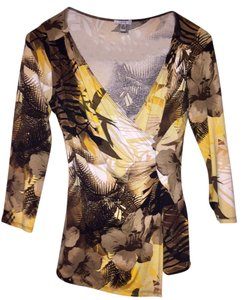 Cache Animal Palms Top Brown and Yellow Tropical Print Blouse
