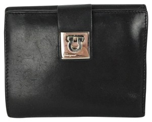 Salvatore Ferragamo Salvatore Ferragamo Black Leather Small Wallet Silver Clip