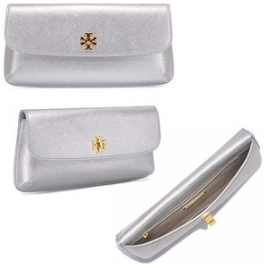 Tory Burch Saffiano Leather Turnlock Logo Scratch-resistant Party Sliver Clutch