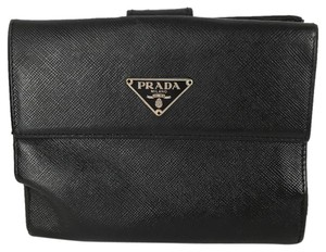 Prada Prada Black Saffiano Leather Travel Passport Wallet Medium Organizer