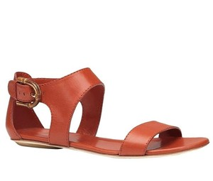 Gucci Nadege Leather W/stirrup Bamboo Buckle Dark Orange/6419 Sandals