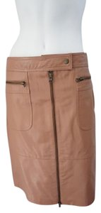 Jessie Della Femmina Classic Straight Leather Skirt Camel Brown