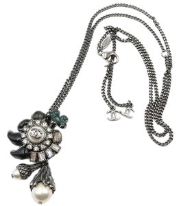 Chanel Rare Chanel Whimsical Plantation Gunmetal Pendant Necklace