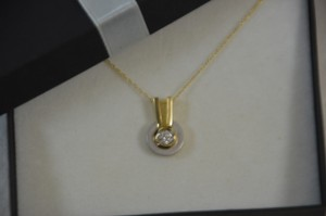 0.25ct. Genuine Diamond Necklace 14k Two Tone Gold 18