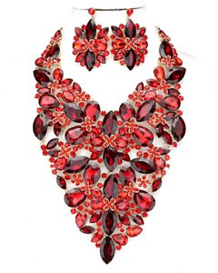 Other Red Siam Rhinestone Crystal Glass Stones Necklace And Earrings