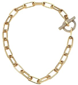 Michael Kors Nwt Boxed Yellow Gold Tone Pave Cityscape Link Necklace