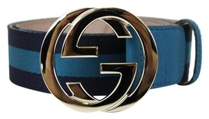 Gucci NEW GUCCI Belt w/Interlocking G Buckle 114876 Blue Webbing/4174 80/32