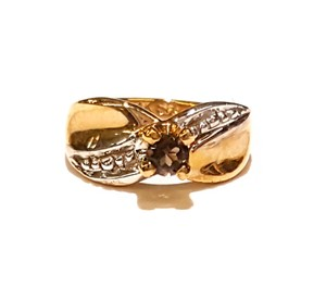 DeWitt's Brown Birthstone Baby Ring in 10 Karat Gold Charm Pendant