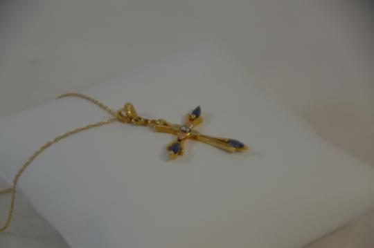 Yellow Gold 0.35ct. Sapphire Diamond 14k Rose Cross Necklace